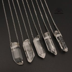 Clear Quartz Stainless Steel Necklace
